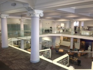 Central Library Edinburgh glass balustrade with stainless steel handrail